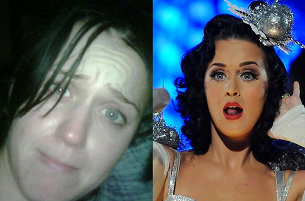 L to R: Katy Perry's Twitter pic without makeup and Katy Perry at her glory