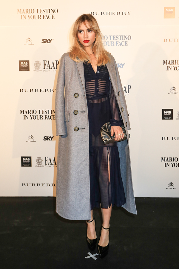 Suki Waterhouse wearing Burberry Prorsum at the Mario Testino `In Your Face' exhibition opening event in Brazil