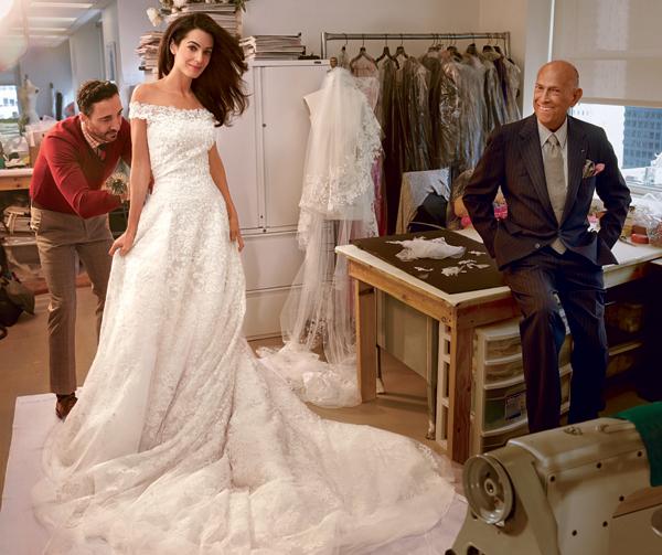 Amal Alamuddin's Wedding Dress: Behind the Scenes at Her Final Fitting with Oscar de la Renta | Photo Credit: VOGUE/Annie Leibovitz