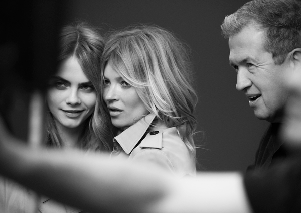 Cara Delevingne, Kate Moss, and Mario Testino