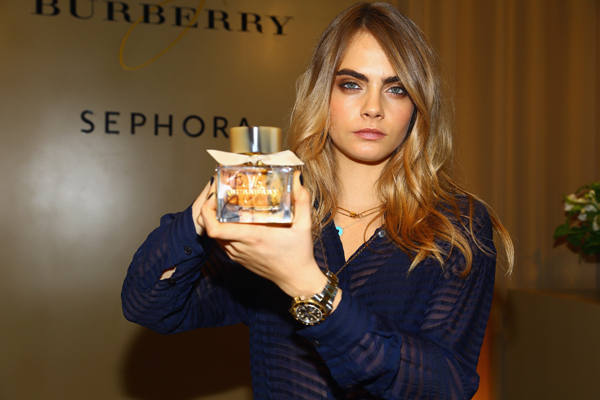 Cara Delevingne in Burberry celebrating My Burberry at Sephora, New York