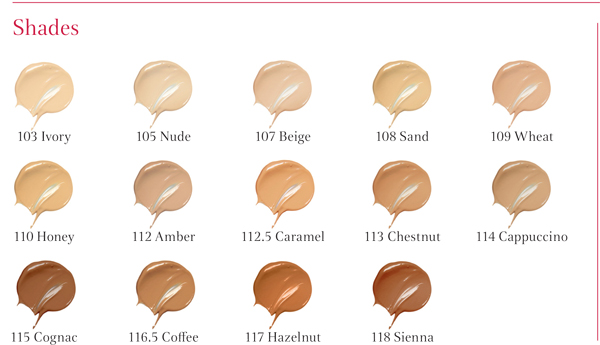 CLARINS Everlasting Foundation+ SPF15 à a long-lasting foundation SHADES