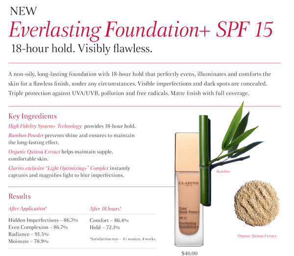 CLARINS Everlasting Foundation+ SPF15 à a long-lasting foundation