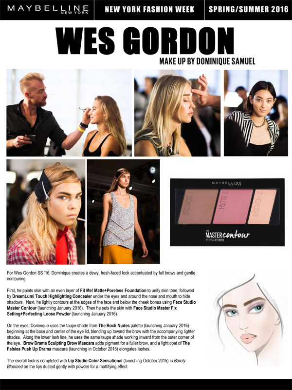 Maybelline NY Wes Gordon SS16 Makeup