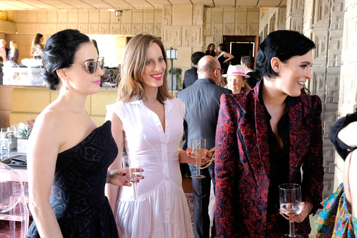 Dancer/model Dita Von Teese, filmmaker/writer Liz Goldwyn and actress Rumer Willis attend the M.A.C Cosmetics Zac Posen luncheon