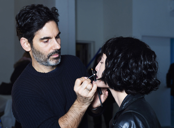 James Kaliardos for NARS Cosmetics backstage at Rodarte Fall Winter 2016. New York Fashion Week.