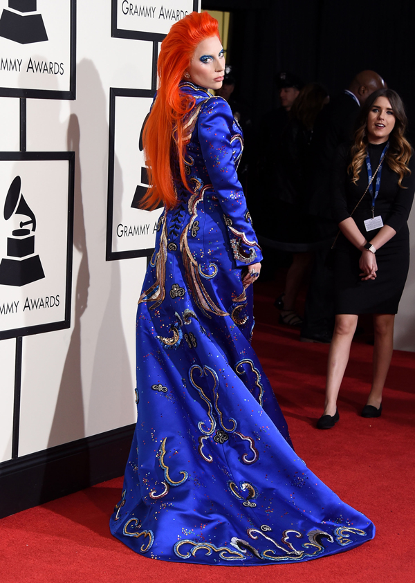 ady Gaga arrives at the The 58th GRAMMY Awards at Staples Center on February 15, 2016 in Los Angeles City. Hair by Frederic Aspiras for L'ANZA Healing Haircare Photo Credit: Photo by Steve Granitz/WireImage