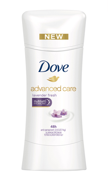 Dove Advanced Care Lavender Fresh is a lovely, timeless lavender fragrance with elegant vanilla notes.