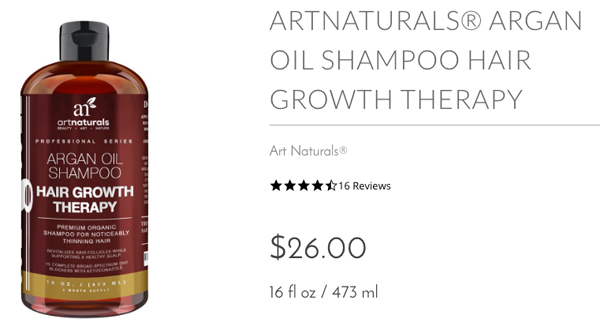 artnaturals Argan Oil Shampoo Hair Growth Therapy