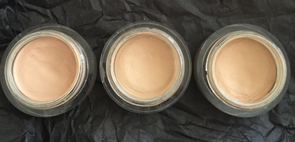 NARS Soft Matte Complete Concealer. Left to Right: Creme Brûlée Light 2.5, Custard Medium 1, and Macadamia Medium 1.5