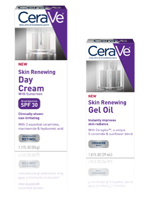 CeraVe Skin Renewing Day Cream with Broad Spectrum SPF 30 and CeraVe Skin Renewing Gel Oil
