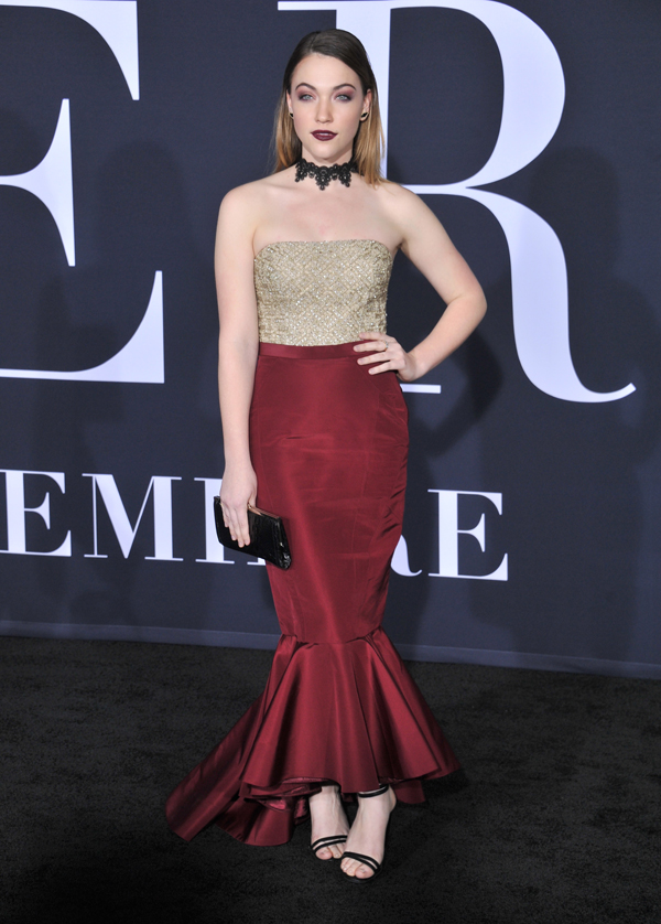 Actress Violett Beane Wears Anne Barge to Fifty Shades Darker Premiere.